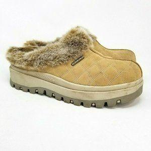 Skechers Clogs size 10 Tan Suede Leather Faux Fur